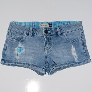 Jean shorts with bright blue plaid pockets